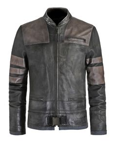 Men's Leather Jackets: How To Choose The One For You. A leather coat is a must for each guy's closet and is likewise an excellent method to express his individual design. Leather jackets never head out of styl Grey Leather Jacket, Vintage Leather Jacket, Leather Jackets, Cowhide Leather, Leather Men, Vintage Men, Vintage Fashion, Jacket Style, Jacket Men