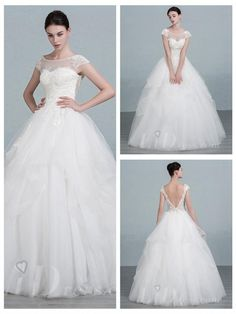 Short Sleeves Scoop Neckline Ball Gown Wedding Dress