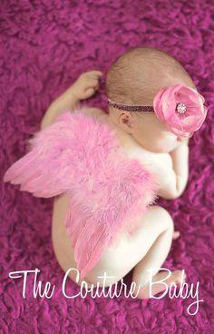 Dusty Rose Feather Princess Butterfly by CoutureBabyHeadbands, $38.99