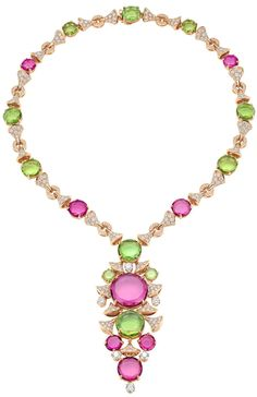 Bulgari Diva collection necklace combines peridot with purple rubellite and…