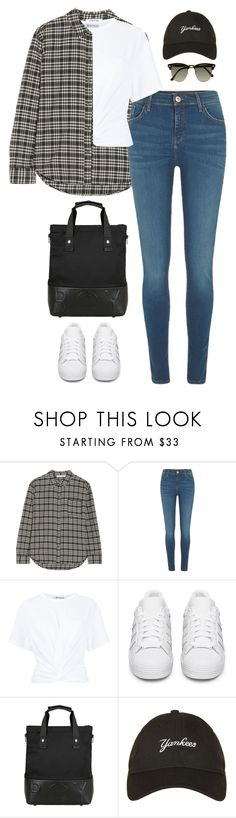 """""""Untitled #459"""" by froyalbiatsii ❤ liked on Polyvore featuring Elizabeth and James, River Island, T By Alexander Wang, adidas Originals, BOY London, New Era and Ray-Ban"""
