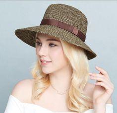 Ribbon bow panama hat for girls British fashion straw sun hats