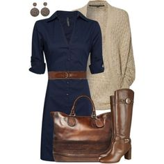 love the navy dress and dark brown belt & accessories