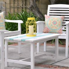 A simple outdoor coffee table to match any patio set for under $15.