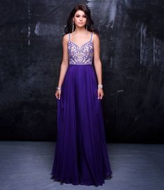 Preorder Nina Canacci 1315 Purple Embellished Sweetheart Chiffon Gown For Prom 2017