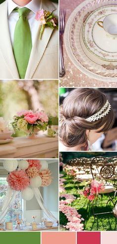 Pink Green Wedding Inspiration Board