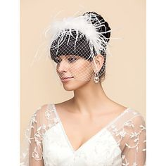 Ostrich Fur  And Tulle Wedding/Party Blusher Veils With Headbands(More Colors) – USD $ 15.99