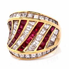 Estate 8.75 ct Asscher Diamond & Ruby 18k Gold Retro Design Cocktail Ring Item #: 529562