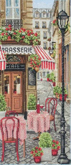 French City Scene - cross stitch kit by Anchor - A pavement cafe with red and white table covers and the houses in the narrow streets with red geraniums decorating their wrought iron balconies. Cross Stitch House, Counted Cross Stitch Kits, Cross Stitch Charts, Cross Stitch Designs, Cross Stitch Patterns, Cross Stitch Embroidery, Embroidery Patterns, Diy Embroidery, City Scene