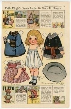 Paper Dolls - Dolly Dingle's Cousin Lucile paper doll 1919 Illustrator and artist Grace… Paper Dolls Book, Vintage Paper Dolls, Paper Toys, Doll Toys, Dolls Dolls, Reborn Dolls, Reborn Babies, Baby Dolls, Paper Art
