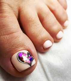 Lovely Toe Nails Design With Holographic Heart Accent ❤️ Over 50 Incredible Toe Nail Designs for Your Perfect Feet❤️ See more: naildesignsjourna. Pretty Toe Nails, Cute Toe Nails, Pretty Toes, Pedicure Nail Art, Pedicure Designs, Toe Nail Art, Pedicure Ideas, Nails Polish, Toe Nail Designs