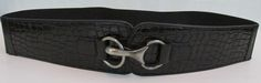 Black Belt With Hardware Buckle  Size 18/20  Manmade material Stretchy
