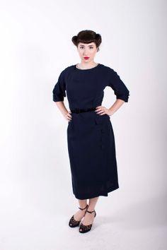 1950s Vintage Dress Navy Blue Rayon 50s Vintage by stutterinmama, $78.00