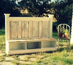 Old door turned into back door bench - good for storing shoes etc. that need to be left at the back door!  That happens often with multiple dogs, chickens, garden, land, etc.  Can also see using old doors for a potting bench - especially with doors with windows.    Found at Homestead Survival on Facebook on 1/31/12.