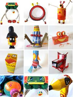 toys from recycled stuff Kids Crafts, Recycled Crafts Kids, Preschool Projects, Arts And Crafts, Toys From Trash, Cardboard Art, Art Classroom, Diy Doll, Creative Kids