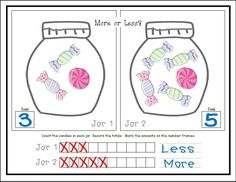 MORE OR LESS: Compare numbers of objects. Which jar has MORE candies. Differentiate your lessons with counting activities and varying levels of difficulty. K.CC.6