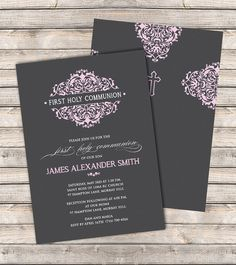 Damask Petals Communion Invitations - An elegant invitation for First Holy…