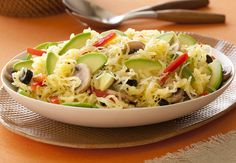 Like a delicious pasta salad without the pasta, this colorful vegetarian recipe combines spaghetti squash, Fresh California Avocados and more.
