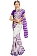 Pearl White and Purple Banarasi Silk Saree  https://www.ethanica.com/products/pearl-white-and-purple-banarasi-silk-saree