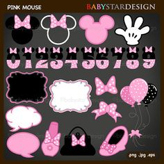 Pink Minnie Mouse Inspired Clipart Minnie Mouse por babystardesign