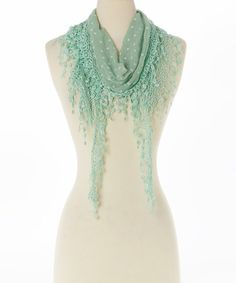Look what I found on #zulily! Green Floral Lace-Fringe Linen-Blend Scarf #zulilyfinds