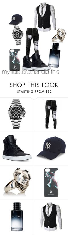 """""""men outfit"""" by key12 ❤ liked on Polyvore featuring Rolex, Any Old Iron, Supra, New Era, Alexander McQueen, Marcelo Burlon, Christian Dior, men's fashion and menswear"""