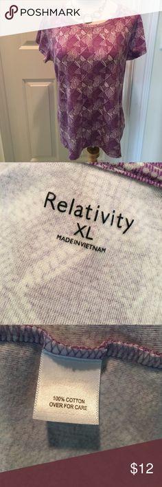 Relativity Short Sleeved Cotton Tee Shirt 👚 EUC Short sleeved cotton tee shirt 👚 with a scoop neckline.  Colors are white, purple & gray.  EUC. Nonsmoking house. Relativity Tops Tees - Short Sleeve