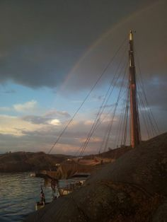 Colin Archer cutters moored under a rainbow... Norway