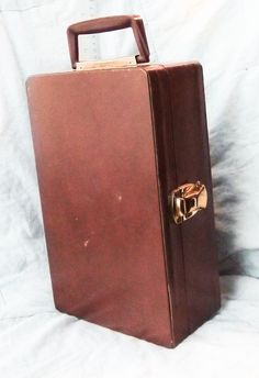 hard suit case small rectangular brown by HalosHome on Etsy, $4.99