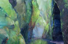 """Randall David Tipton on Instagram: """"Oneonta 21. Mixed watermedia on Yupo 26x40 inches, 66x101.5 cm. Oregon's jewel like gorge within a gorge. This is a commission of sorts and…"""" Oregon, Painting, Instagram, Art, Art Background, Painting Art, Kunst, Paintings, Performing Arts"""