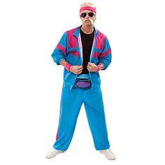 buttinette Déguisement survêtement des années 80, en tissu polyester léger, couleurs : bleu/rose vif.Le déguisement comprend les éléments suivants :- une veste avec une fermeture à glissière,- un pantalon avec une taille élastiqueComposition: 100 % polyesterLivré sans perruque, sans barbe, sans lunettes, sans bandeau, sans T-Shirt et sans moustache.