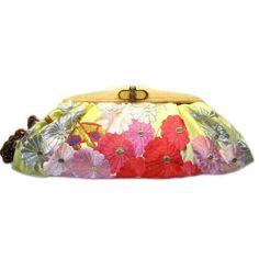 Kimono Clutch-Pastel Chrysanthemum pon pon by Uroco