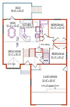 Modified Bi-Level with a Garage 2008401 by E-Designs Garage House Plans, New House Plans, L Shaped House Plans, L Shaped Kitchen, Great Rooms, Pantry, New Homes, House Ideas, Floor Plans