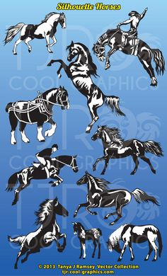 Silhouette Horses Collection  Clip Art by CleverVectors on Etsy, $4.25