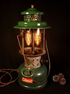 Rustic Lamp Vintage Lighting Coleman Lantern by BenclifDesigns Rustic Mirrors, Rustic Lamps, Rustic Lighting, Vintage Lighting, Rustic Desk, Rustic Cafe, Rustic Furniture, Rustic Office, Rustic Logo