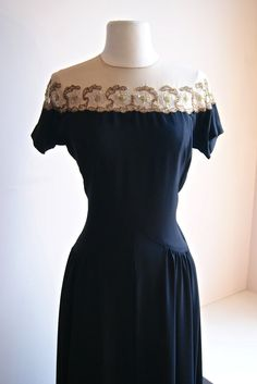 Evening Gown // Vintage Illusion Dress by xtabayvintage Vintage Evening Gowns, Vintage Dresses, Vintage Outfits, Vintage Beauty, Vintage Style, 1940s Fashion, Vintage Fashion, Pretty Dresses, Beautiful Dresses