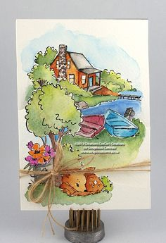 i color: a watercolor tri-fold card with Art Impressions Stamps. i'm in love with the stamps!