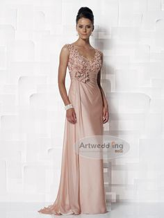 Ruched and Appliqued Chiffon Sheath Mother of the Bride Dress