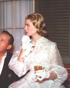 Grace Kelly as Samantha with wedding doubts in High Society (1956) #CostumeDesign by Helen Rose.