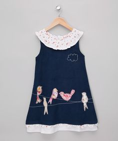 Take a look at this Navy Bird Corduroy Dress - Infant, Toddler & Girls on zulily today!