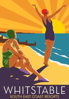 Art Deco style print of two girls on Whitstable beach, Kent. in Retro, Art Deco style design Tourism Poster, Poster Ads, Advertising Poster, Posters Uk, Whitstable Beach, Whitstable Kent, Travel English, Beach Posters, Modern Art Deco
