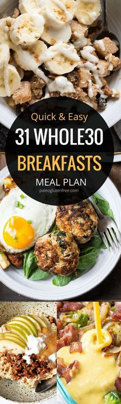 Best breakfast recipes all in one place. 31 days of breakfast recipes! meal plan that's quick and healthy! recipes just for you. meal pre (Whole 30 Recipes) Healthy Breakfast Recipes, Clean Eating Recipes, Paleo Recipes, Cooking Recipes, Paleo Meals, Breakfast Crockpot, Breakfast Casserole, Paleo Diet, Breakfast Bake