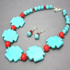 Turquoise Jewelry accented with Coral