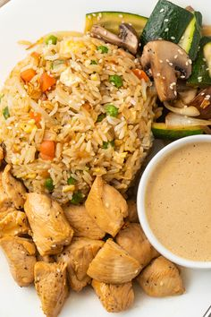 Hibachi Chicken with Fried Rice - 40 Aprons A restaurant-style hibachi dinner complete with fried rice, tender chicken, veggies, and slightly spicy mustard sauce. Rice Recipes, Asian Recipes, Chicken Recipes, Dinner Recipes, Healthy Recipes, Healthy Meals, Dinner Ideas, Hibachi Recipes, Grilling Recipes