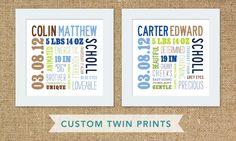 Custom mixed typography 12x12 set of TWIN Birth Prints. $50.00, via Etsy.