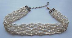 Vintage 1950 s Ivory Faux Pearl Bead Lattice-Woven Choker Necklet Bridal Downton