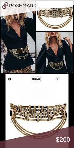 """STONE COLD FOX x LUV AJ 🌙 Toledo Belt NWT Blame your gypsy soul when you can't... pass... this... up. It's gorgeous 💫. Black suede statement belt with gold OR silver chain, beads, and connecters One Size Fits Most  Belt is 29"""" with 11"""" of extender chain Six rows of connected cable suede with three hanging pieces of chain Belt is 2.25"""" thick Stone Cold Fox Accessories Belts"""