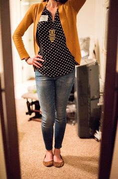 Stitch Fix Kieraly Dot Print Short Sleeve Blouse and Mavi Aiden Jeans: what I wore to the launch party for #stitchfixpetite and #stitchfixmaternity