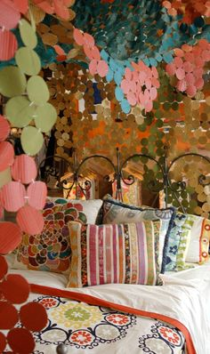 """I think a """"canopy party"""" needs to happen at my house! This has DIY instructions, but the colors used are most likely the personal choice of the blogger & not the same as the colors shown.  So, a few friends, a few margarita's, a couple of stapled fingers... Done!   *sonyastyle.com"""