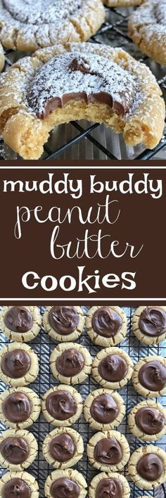 Muddy Buddy Peanut Butter Cookies Your favorite snack made into a cookie! Muddy buddy peanut butter cookies are a soft & thick peanut but. Cookie Desserts, Just Desserts, Cookie Recipes, Delicious Desserts, Dessert Recipes, Spanish Desserts, Holiday Baking, Christmas Baking, Christmas Cookies